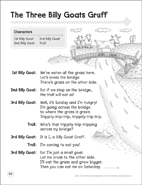The Three Billy Goats Gruff: A Beginning Reader Play - Printable Worksheet