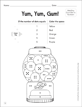 Matching Quantities to Numbers (and Vice Versa): Math Picture Puzzles for Young Learners - Printable Worksheet