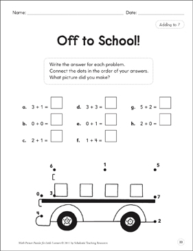 Adding to 7: Math Picture Puzzles for Young Learners - Printable Worksheet