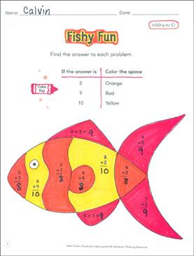 Adding to 10: Math Picture Puzzles for Young Learners - Printable Worksheet