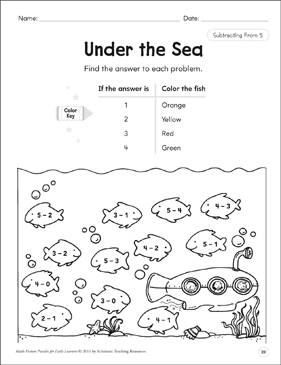 Subtracting From 5: Math Picture Puzzles for Young Learners - Printable Worksheet