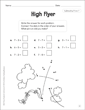 Subtracting From 7: Math Picture Puzzles for Young Learners - Printable Worksheet