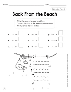 Subtracting From 8: Math Picture Puzzles for Young Learners - Printable Worksheet