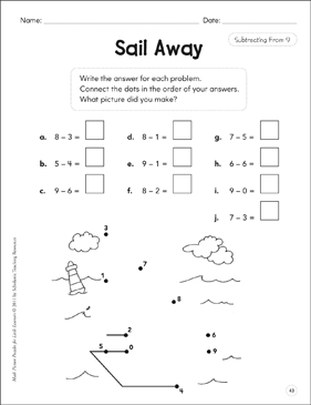 Subtracting From 9: Math Picture Puzzles for Young Learners - Printable Worksheet