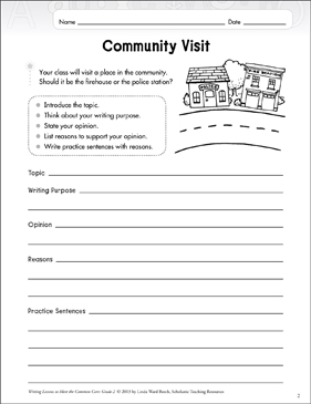 Community Visit: Opinion Writing Lesson - Printable Worksheet