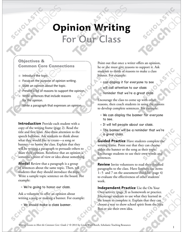 opinion paragraph sample