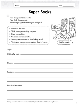 Super Socks: Opinion Writing Lesson - Printable Worksheet
