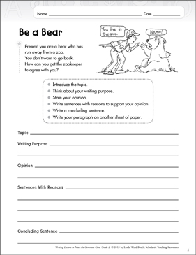 Be a Bear: Opinion Writing Lesson - Printable Worksheet