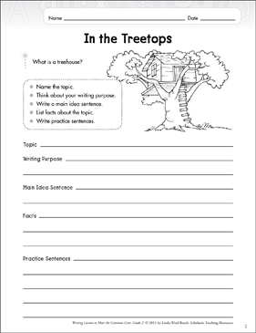 In the Treetops: Informative Writing Lesson - Printable Worksheet