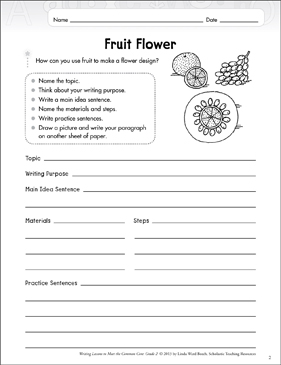 Fruit Flower: Explanatory Writing Lesson - Printable Worksheet