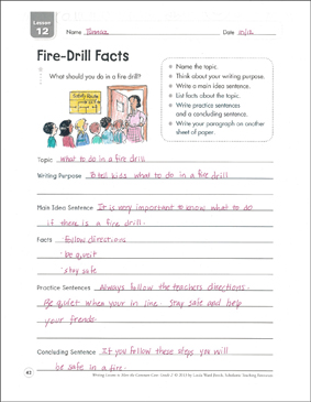 Fire-Drill Facts: Informative Writing Lesson - Printable Worksheet