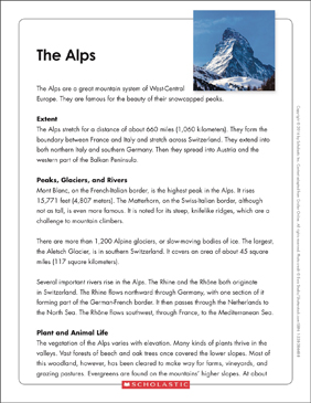 The Alps: Text & Organizer - Printable Worksheet