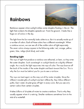 Rainbows: Text & Organizer - Printable Worksheet