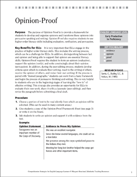 Opinion-Proof (Speaking and Writing for ELLs) | Printable Lesson