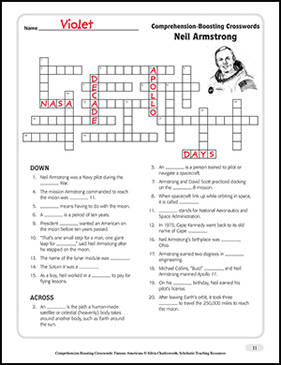 Neil Armstrong Text Amp Crossword Puzzle Printable