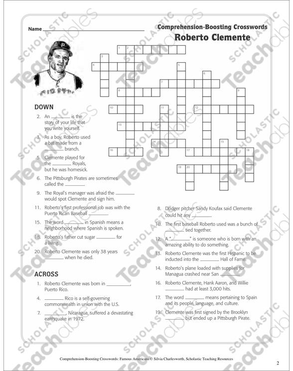 Roberto Clemente: Text & Crossword Puzzle   Printable Skills