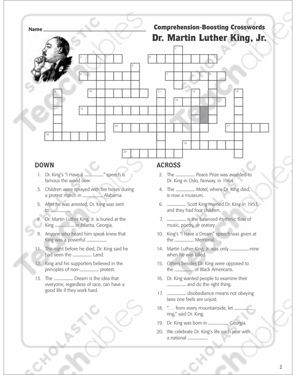 Dr Martin Luther King Jr Text Crossword Puzzle Printable
