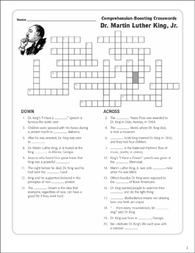 photograph relating to Martin Luther King Word Search Printable called Dr. Martin Luther King, Jr.: Phrases Crossword Puzzle