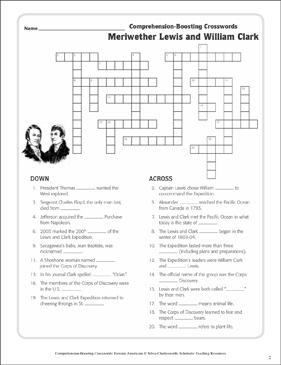 photo relating to Lewis Clark Printable Activities named Meriwether Lewis William Clark: Phrases Crossword Puzzle