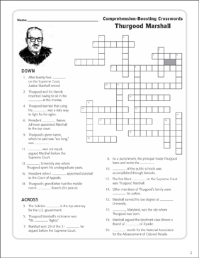 picture regarding Printable Movie Crossword Puzzles identified as Thurgood Marshall: Words Crossword Puzzle Printable