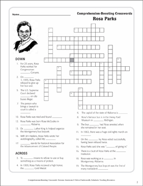 Rosa Parks: Text & Crossword Puzzle | Printable Crossword Puzzles ...