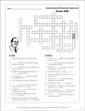Jonas Salk: Text & Crossword Puzzle | Printable Crossword ...