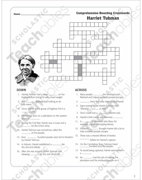 Harriet Tubman Text Crossword Puzzle Printable. See Inside. Worksheet. Harriet Tubman Worksheets At Mspartners.co