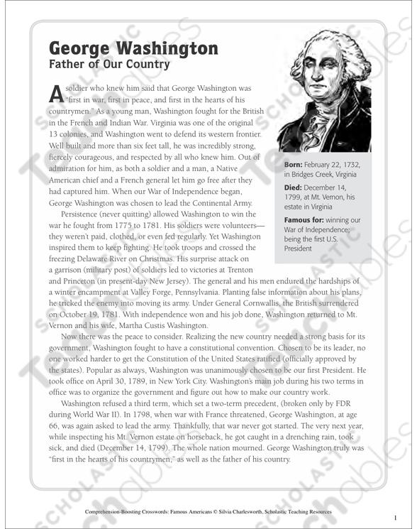 George Washington Text Crossword Puzzle Printable Crossword