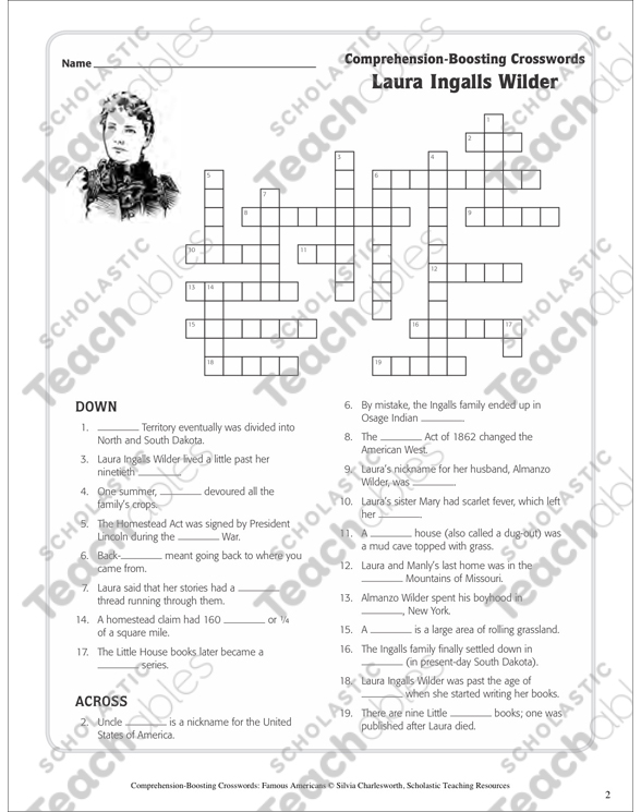 Laura Ingalls Wilder Text Crossword Puzzle Printable Crossword - Crossword-puzzle-maps-in-us-history-answers