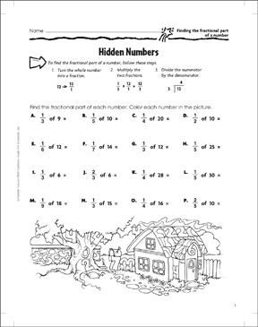 Hidden Numbers Fractional Part Of A Number Printable Skills Sheets