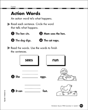 Action Verbs Grade 1 Collection | Printable Leveled Learning