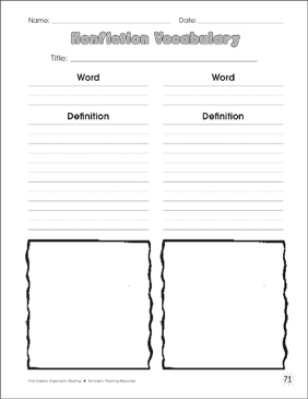 graphic regarding Vocabulary Graphic Organizers Printable named Nonfiction Vocabulary Picture Organizer Printable Picture