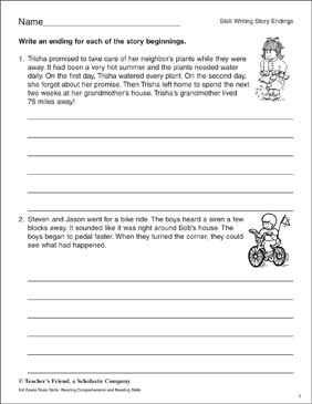 Writing Story Endings (Fishing Trip & Lost Dog) | Printable Skills