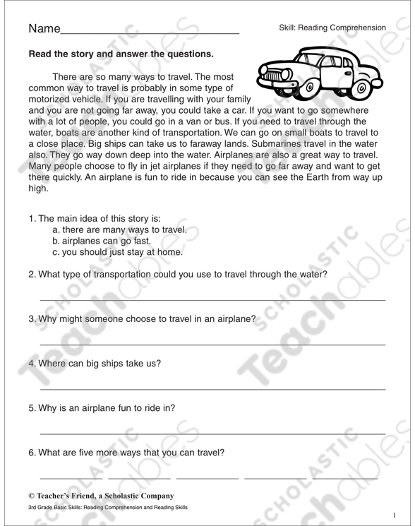 Reading Comprehension Passage And Questions Transportation