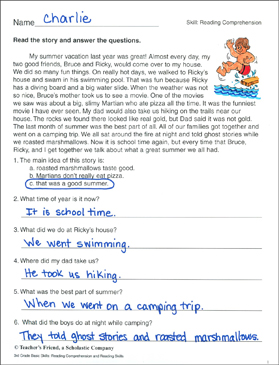 summer vacation reading comprehension passage printable skills sheets. Black Bedroom Furniture Sets. Home Design Ideas
