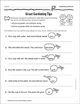 great gardening tips combining sentences - Combining Sentences Worksheet