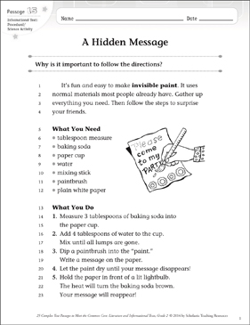 A Hidden Message: Text & Questions | Printable Texts and ...