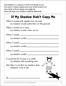 if my shadow didn 39 t copy me all about me poetry frame printable skills sheets and graphic. Black Bedroom Furniture Sets. Home Design Ideas