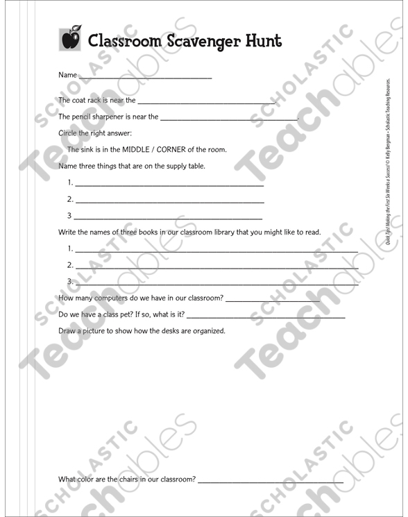 Classroom Scavenger Hunt Printable Forms And Record Sheets
