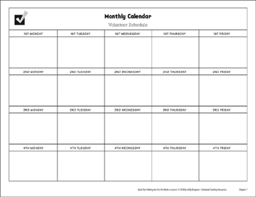 Monthly Calendar | Monthly Calendar Volunteer Schedule Printable Forms Record