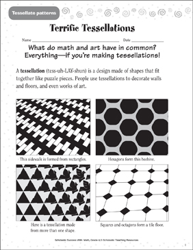 photo about Tessellation Worksheets Printable referred to as Fantastic Tessellations (Tessellations Styles) Printable