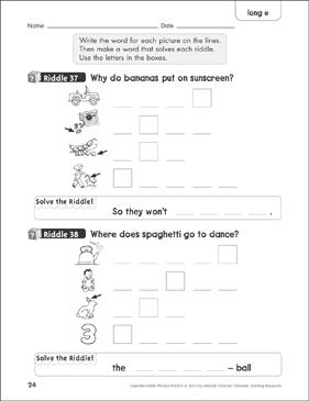 Long E: Solve-the-Riddle Phonics | Printable Skills Sheets