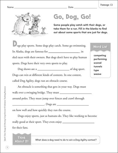 Go Dog Go Quick Cloze Passage Printable Skills Sheets