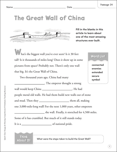 The Great Wall of China: Quick Cloze Passage | Printable ...