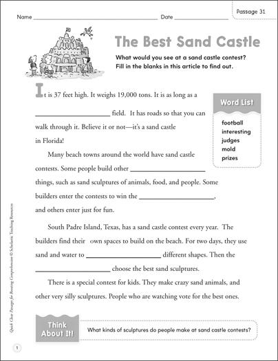The Best Sand Castle: Quick Cloze Passage | Printable Skills