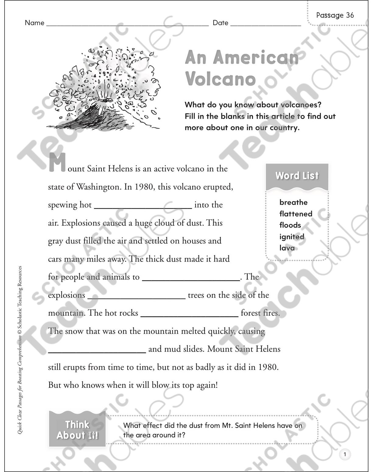 An American Volcano Quick Cloze Passage Printable Skills Sheets