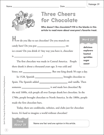 Three Cheers for Chocolate: Quick Cloze Passage | Printable ...