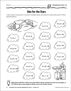 Aim for the Stars (Multiplication Facts—2s)   Printable ...