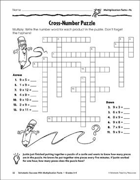 picture relating to Number Puzzles Printable called Cross-Range Puzzle (Multiplication Info9s) Printable