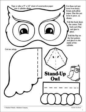 image regarding Printable Owl Pattern identified as Stand-Up Owl Behavior Printable Arts, Crafts and Techniques Sheets
